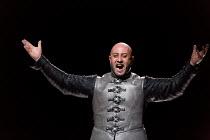 Marco Vratogna (Iago) in OTELLO by Verdi opening at The Royal Opera, Covent Garden, London WC2 on 21/06/2017 libretto: Arrigo Boito after Shakespeare's OTHELLO conductor: Antonio Pappano set design: B...