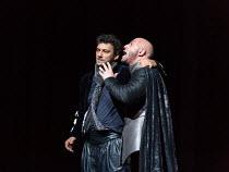 Iago spreads his poison, l-r: Jonas Kaufmann (Otello), Marco Vratogna (Iago) in OTELLO by Verdi opening at The Royal Opera, Covent Garden, London WC2 on 21/06/2017 libretto: Arrigo Boito after Shakesp...