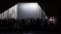 front right, l-r: Frederic Antoun (Cassio), Simon Shibambu (Montano), Thomas Atkins (Roderigo) in OTELLO by Verdi opening at The Royal Opera, Covent Garden, London WC2 on 21/06/2017 libretto: Arrigo B...