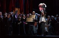 triumphant Iago waves decapitated head: Marco Vratogna (Iago) in OTELLO by Verdi opening at The Royal Opera, Covent Garden, London WC2 on 21/06/2017 libretto: Arrigo Boito after Shakespeare's OTHELLO...