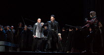 l-r: Marco Vratogna (Iago), Frederic Antoun (Cassio), Thomas Atkins (Roderigo) in OTELLO by Verdi opening at The Royal Opera, Covent Garden, London WC2 on 21/06/2017 libretto: Arrigo Boito after Shake...