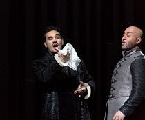 l-r: Frederic Antoun (Cassio), Marco Vratogna (Iago) in OTELLO by Verdi opening at The Royal Opera, Covent Garden, London WC2 on 21/06/2017 libretto: Arrigo Boito after Shakespeare's OTHELLO conductor...