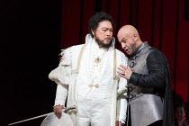 l-r: In Sung Sim (Lodovico), Marco Vratogna (Iago) in OTELLO by Verdi opening at The Royal Opera, Covent Garden, London WC2 on 21/06/2017 libretto: Arrigo Boito after Shakespeare's OTHELLO conductor:...