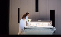 final scene, Desdemona's bedroom: Maria Agresta (Desdemona) in OTELLO by Verdi opening at The Royal Opera, Covent Garden, London WC2 on 21/06/2017 libretto: Arrigo Boito after Shakespeare's OTHELLO co...