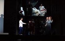 top, l-r: Frederic Antoun (Cassio), In Sung Sim (Lodovico) below, l-r: Jonas Kaufmann (Otello), Marco Vratogna (Iago), Kai R��tel (Emilia) in OTELLO by Verdi opening at The Royal Opera, Covent Garden,...