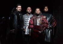 l-r: Frederic Antoun (Cassio), Marco Vratogna (Iago), Simon Shibambu (Montano), Thomas Atkins (Roderigo) in OTELLO by Verdi opening at The Royal Opera, Covent Garden, London WC2 on 21/06/2017 libretto...