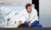 final bedroom scene: Maria Agresta (Desdemona), Jonas Kaufmann (Otello) in OTELLO by Verdi opening at The Royal Opera, Covent Garden, London WC2 on 21/06/2017 libretto: Arrigo Boito after Shakespeare'...