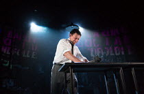 smashing compositor's galley, ink flying: Richard Coyle (Larry Lamb - SUN editor) in INK by James Graham opening at the Almeida Theatre, London N1 on 27/06/2017                    design: Bunny Chri...