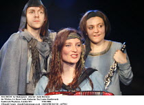 MACBETH   by Shakespeare   director: Andy Brereton ~the Witches, l-r: Ryan Coath, Katherine Toy, Louise Shuttleworth~Southwark Playhouse, London SE1  27/01/2006 ~(c) Donald Cooper   photos@photostage....