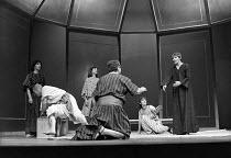 ANTONY AND CLEOPATRA   by Shakespeare   design: Sally Jacobs   director: Peter Brook   l-r: Alan Rickman (servant), Philip McGough (Mardian), Juliet Stevenson (Iras), (back to camera/tbc), Paola Dioni...