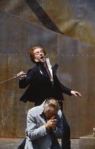 HAMLET by Shakespeare  design: Tanya McCallin  director: Tim Pigott-Smith   (rear) Damian Lewis (Hamlet), Paul Freeman (Claudius)  Open Air Theatre (OAT), Regent's Park, London NW1  15/05/1994 � Donal...