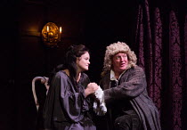 Emma Cunniffe (Anne - Princess, later Queen), Hywel Morgan (Prince George of Denmark) in QUEEN ANNE by Helen Edmundson opening at the Theatre Royal Haymarket, London SW1 on 10/07/2017   an RSC 2015 pr...