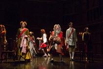 front, l-r: Sheena Bhattessa (Lady Somerset), Michael Fenton Stevens (Dr John Radcliffe), Sid Sagar (Samuel Masham) in QUEEN ANNE by Helen Edmundson opening at the Theatre Royal Haymarket, London SW1...