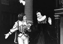 TWELFTH NIGHT by Shakespeare set design: C Walter Hodges costumes: Bernard Culshaw director: Frank Hauser l-r: Lynn Farleigh (Viola), Sarah Badel (Olivia) St. George's Theatre, London N7  21/04/1976 D...