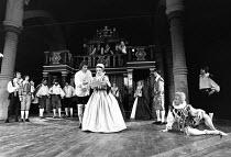 TWELFTH NIGHT by Shakespeare set design: C Walter Hodges costumes: Bernard Culshaw director: Frank Hauser front centre: Eric Porter (Malvolio), Sarah Badel (Olivia)  right: Ronnie Stevens (Feste)St. G...