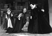 TWELFTH NIGHT by Shakespeare set design: C Walter Hodges costumes: Bernard Culshaw director: Frank Hauser l-r: Elvi Hale (Maria), Eric Porter (Malvolio), Sarah Badel (Olivia) St. George's Theatre, Lon...