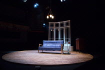 TWILIGHT SONG by Kevin Elyot  design: James Cotterill  lighting: Tim Lutkin  director: Anthony Banks   stage,set,full,empty,round,interior,settee,windows,lights Park Theatre, London N4  17/07/2017 � D...