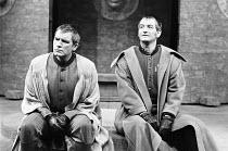 JULIUS CAESAR by Shakespeare design: John Bury lighting: David Hersey director: John Schlesinger    conspirators - l-r: Brian Cox (Marcus Brutus), Ronald Pickup (Caius Cassius)  Olivier Theatre, Natio...