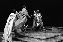 JULIUS CAESAR by Shakespeare design: John Bury lighting: David Hersey director: John Schlesinger    assassination of Caesar: John Gielgud (Julius Caeasar) Olivier Theatre, National Theatre, London SE1...