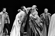 JULIUS CAESAR by Shakespeare design: John Bury lighting: David Hersey director: John Schlesinger    assassination of Caesar - l-r: Ronald Pickup (Caius Cassius), Brian Cox (Marcus Brutus), John Gielgu...
