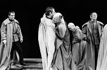 JULIUS CAESAR by Shakespeare design: John Bury lighting: David Hersey director: John Schlesinger    assassination of Caesar - front, l-r: Ronald Pickup (Caius Cassius), Brian Cox (Marcus Brutus), John...
