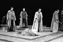 JULIUS CAESAR by Shakespeare design: John Bury lighting: David Hersey director: John Schlesinger    Caesar slain (John Gielgud, foreground) - left: Ronald Pickup (Caius Cassius)  centre: Brian Cox (Ma...