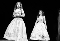 A MIDSUMMER NIGHT'S DREAM by Shakespeare  design: Maria Bjornson  lighting: Chris Ellis  director: Ron Daniels    ~l-r: Harriet Walter (Helena), Jane Carr (Hermia)~RSC/RST, Stratford-upon-Avon   07/19...