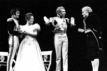 MUCH ADO ABOUT NOTHING by Shakespeare  director: Ronald Eyre   l-r: Roger Rees (Claudio), Alison Fiske (Hero), Jeffery Dench (Don Pedro), Tony Church (Leonato)  **Lo-res uncorrected and un-retouched f...