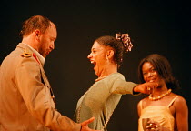 'ANTONY AND CLEOPATRA' (Shakespeare)~l-r: Tim Woodward (Mark Antony), Cathy Tyson (Cleopatra), Ivy Omere (Iras) ~English Shakespeare Company / Hackney Empire  15/10/1998~(c) Donald Cooper/Photostage...