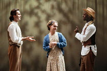 AS YOU LIKE IT  by Shakespeare  design: Nick Ormerod  director: Declan Donnellan <br>~l-r: Patrick Toomey (Orlando de Boys), Tom Hollander (Celia), Adrian Lester (Rosalind)~Cheek by Jowl / Lyric Hamme...