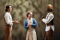 AS YOU LIKE IT  by Shakespeare  design: Nick Ormerod  director: Declan Donnellan <br> l-r: Patrick Toomey (Orlando de Boys), Tom Hollander (Celia), Adrian Lester (Rosalind) Cheek by Jowl / Lyric Ham...