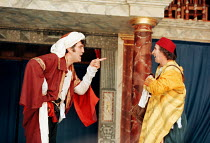 THE COMEDY OF ERRORS   by Shakespeare   design: Liz Cooke   Master of Verse: Tim Carroll  director: Kathryn Hunter  left: Vincenzo Nicoli (Antipholus of Ephesus / Antipholus of Syracuse)  right: Marce...