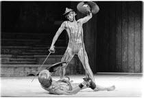 CORIOLANUS by Shakespeare  design & lighting: John Bury  fights: Malcolm Ranson  music: Harrison Birtwistle  director: Peter Hall Ian McKellen (Coriolanus)Olivier Theatre, National Theatre (NT), Londo...