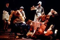 HENRY IV part ii   by Shakespeare   set design: Bob Crowley   costumes: Deirdre Clancy   lighting: Alan Burrett   director: Adrian Noble centre: Linda Bassett (Mistress Quickly), Robert Stephens (Sir...