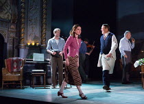 l-r: Sam Reid (Gene Laine), Shirley Henderson (Elizabeth Laine), Ciaran Hinds (Nick Laine), (rear) Stanley Townsend (Mr. Burke) in GIRL FROM THE NORTH COUNTRY by Conor McPherson opening at the Old Vic...