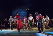 front: Sheila Atim (Marianne Laine), Arinze Kene (Joe Scott) in GIRL FROM THE NORTH COUNTRY by Conor McPherson opening at the Old Vic Theatre, London SE1 on 26/07/2017 music & lyrics: Bob Dylan  desig...