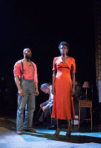 l-r: Arinze Kene (Joe Scott), (head bowed) Stanley Townsend (Mr. Burke), Sheila Atim (Marianne Laine) in GIRL FROM THE NORTH COUNTRY by Conor McPherson opening at the Old Vic Theatre, London SE1 on 26...