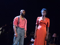 Arinze Kene (Joe Scott), Sheila Atim (Marianne Laine) in GIRL FROM THE NORTH COUNTRY by Conor McPherson opening at the Old Vic Theatre, London SE1 on 26/07/2017 music & lyrics: Bob Dylan  design: Rae...