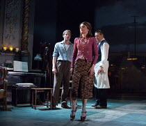 l-r: Sam Reid (Gene Laine), Shirley Henderson (Elizabeth Laine), Ciaran Hinds (Nick Laine) in GIRL FROM THE NORTH COUNTRY by Conor McPherson opening at the Old Vic Theatre, London SE1 on 26/07/2017...
