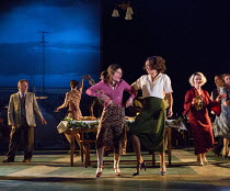 centre, l-r: Shirley Henderson (Elizabeth Laine), Debbie Kurup (Mrs. Neilsen) in GIRL FROM THE NORTH COUNTRY by Conor McPherson opening at the Old Vic Theatre, London SE1 on 26/07/2017 music & lyrics:...