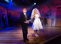 Benjamin Lewis (Adrian), Asha Banks (Pandora) in THE SECRET DIARY OF ADRIAN MOLE AGED 13 3/4 - THE MUSICAL opening at the Menier Chocolate Factory, London SE1 on 26/07/2017 based on the novel by Sue T...