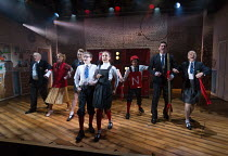 centre: Benjamin Lewis (Adrian), Asha Banks (Pandora) in THE SECRET DIARY OF ADRIAN MOLE AGED 13 3/4 - THE MUSICAL opening at the Menier Chocolate Factory, London SE1 on 26/07/2017 based on the novel...