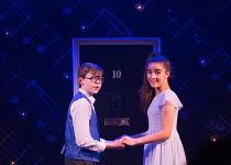 imagining their future together at Number 10: Benjamin Lewis (Adrian), Asha Banks (Pandora) in THE SECRET DIARY OF ADRIAN MOLE AGED 13 3/4 - THE MUSICAL opening at the Menier Chocolate Factory, London...