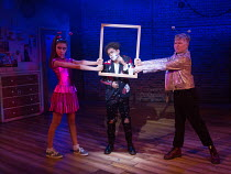 l-r: Asha Banks (Pandora), Amir Wilson (Nigel), Connor Davies (Barry) in THE SECRET DIARY OF ADRIAN MOLE AGED 13 3/4 - THE MUSICAL opening at the Menier Chocolate Factory, London SE1 on 26/07/2017 bas...