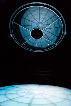 MOSQUITOES by Lucy Kirkwood  design: Katrina Lindsay  lighting: Paule Constable  director: Rufus Norris ~~stage,set,empty,disc,suspended~Dorfman Theatre, National Theatre (NT), London SE1  25/07/2017...