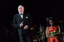 Jim Norton (Mr. Perry), Sheila Atim (Marianne Laine) in GIRL FROM THE NORTH COUNTRY  by Conor McPherson opening at the Old Vic Theatre, London SE1 on 26/07/2017   music & lyrics: Bob Dylan  design: Ra...