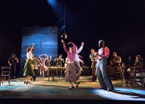 front: Shirley Henderson (Elizabeth Laine), Arinze Kene (Joe Scott) in GIRL FROM THE NORTH COUNTRY  by Conor McPherson opening at the Old Vic Theatre, London SE1 on 26/07/2017   music & lyrics: Bob Dy...