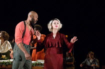 Arinze Kene (Joe Scott), Bronagh Gallagher (Mrs. Burke) in GIRL FROM THE NORTH COUNTRY  by Conor McPherson opening at the Old Vic Theatre, London SE1 on 26/07/2017   music & lyrics: Bob Dylan  design:...