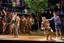 returned from battle, injured and traumatised - l-r: James Way (Davey), Sam Furness (Jack), Victoria Simmonds (Anna) in the world premiere of Roxanna Panufnik's opera SILVER BIRCH opening at Garsingto...