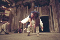 KING LEAR   by Shakespeare   director / Master of Play: Barry Kyle   centre: Julian Glover (Lear) carries dead Cordelia (Tonia Chauvet) with (left) Bruce Alexander (Duke of Kent) Shakespeare's Globe,...